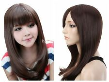 Fashion Women Top Medium Long Straight Wig BOBO Cosplay Party Full Wigs Hair+Cap
