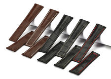 22mm Genuine Leather Strap Watch Band For TAG Heuer Carrera/Monaco Mens Watches