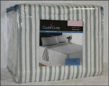Cuddl Duds STRIPED Heavy Weight Brushed Cotton FLANNEL Sheet Set - GREEN & WHITE