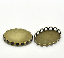 Wholesale Lots Bronze Tone Oval Cabochon Frame Settings 19x14mm(Fit 18x13mm)