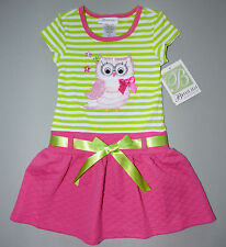 BONNIE JEAN® Toddler Girl's Green Owl Tee w/ Pink Quilted Skirt Dress NWT $48