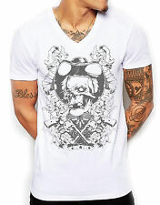 Distinkt Youth Dead Cowboys Deep V Neck Mens T Shirt Rose Gun Pistol Fashion 571