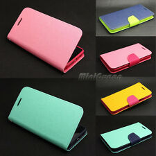 Dual Color Leather Case Flip Stand Card Wallet Cover for Samsung Galaxy Phones