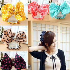 Womens Girls Sweet Big Bow Headband Ponytail Holder Hair Tie Band Elastic Rope