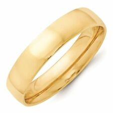 5mm 10K Yellow Gold Comfort Fit or Half Round Wedding Ring Band Size 5-13