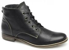 Xti Womens Ladies Premium Soft Leather Smart Comfy 5 Eye Lace Up Ankle Boots New