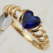 Size5 6 7 8 9 10 Blue Heart Sapphire Jewelry Yellow Gold Filled Woman Ring R2026