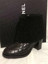 CHANEL 14B Quilted Shiny Leather Shearling Fur Trim Ankle Boots Heel Black$1825
