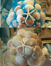 SeaShell Beach Wedding BOUQUET Starfish WHITE, IVORY OR TURQUOISE  w/ No Flowers
