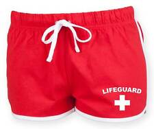 LIFEGUARD Ladies Retro Shorts 6-16 Red Funny Printed Fancy Dress Costume Outfit