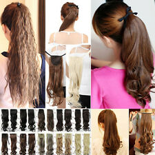 AU Wavy/Straight/Curly Tie  UP Ponytail  clip in hair extensions Hairprices cj6