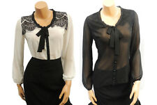 New Ladies Vintage Style Lace Sheer Chiffon Office Work Smart Pussy Bow Blouse