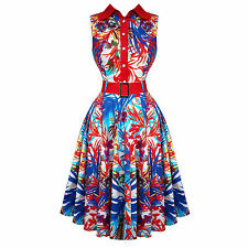 Hearts and Roses London Red Floral 50s Vintage Party Swing Jive Pinup Dress
