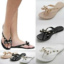 New Womens WJn43 Black White Nude Gold Studded Jelly Flat Sandals sz 6 to 10