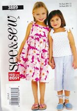 BUTTERICK SEWING PATTERN SEE & SEW CHILLDENS / GIRLS DRESS TOP & PANTS 2-83889
