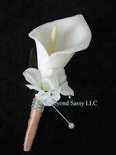 Spring Wedding Classic White Calla Lily Flower Boutonniere Bling Satin Blue Stem