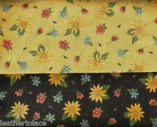 Quilting Treasures ~ Isabella Floral Black or Gold 100% Cotton Quilt Fabric BTY