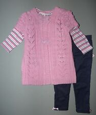 LITTLE LASS® Baby Girl's' 12M, 18M Pink 3Pc. Sweater & Leggings Set *NWT*