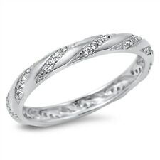 Cubic Zirconia Eternity Design Band .925 Sterling Silver Ring Size 5-10