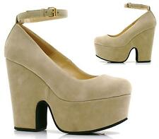 WOMENS DEMI WEDGE PLATFORM HIGH HEEL PARTY ANKLE STRAP WEDGES SHOES SIZE