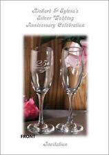 Personalised Silver 25th Wedding Anniversary Invitations - Invites Code 4332A6