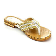 New! DBDK LARINN-3 Women Fashion Hot Metal Rhinestone Flip Lop Flat Thong Sandal