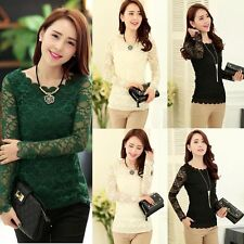 Women Lady Long Sleeve Shirt Lace Crochet Emboriey Loose Tops Blouse Gut