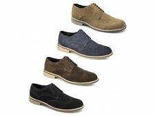 Roamers Mens Suede Leather 5 Eyelet Lace Up Brogue Comfy Casual Desert Shoes New