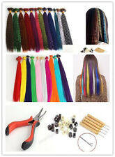 """Pick 16""""Grizzly/20"""" Solid Synthetic Feather Hair Extension Bead Hook Plier Kits"""