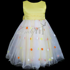 Girls Kids Colorful Dots Dress Toddler Baby Bow Party Pageant Tulle Dresses 2-6