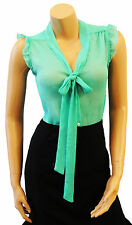 Retro Bright Jade Green Sheer Crepe chiffon Vtg Pussy Bow Office Work  Blouse