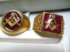 RED Mason (Masonic) Rings in Red Laquer and 18k Gold electropate