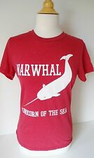 New Loyal Army Clothing Graphic T Shirt NARWHAL UNICORN OF THE SEA Red Soft Cute