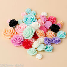 Wholesale 10Pcs 8/10mm Resin Flowers Cameos Fit Cabochons Settings Flatback DIY
