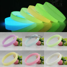 Charm GLOW IN THE DARK Luminous Silicone Rubber Wristband Wrist Band Bracelet