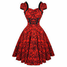 Hearts & Roses London Red Tattoo 1950s Rockabilly Vintage Party Prom Dress