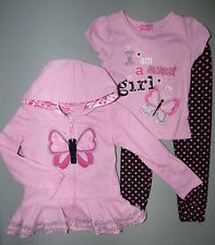 YOUNG HEARTS® Girl's 4, 5 Pink Sweet Girl Hoodie, Tee & Leggings *NWT $48