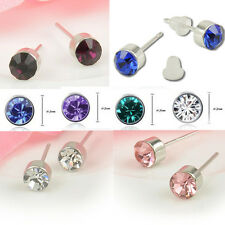 CA 18k White Gold Plating Crystal Gemstone Stud Earrings with Jewelry