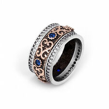 925 Sterling Silver Dual Tone Vintage Ring With Blue Sapphire Stones Woman Man