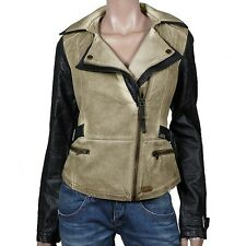 Khujo Shone Women's Jacket beige Vintage Biker Between-Seasons Fake Leather New