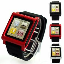 Aluminum Multi-Touch Watch Band  Wrist Strap Case For iPod Nano 6/6th UK Stock