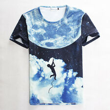 The man climbing to Outer Space galaxy moon 3D T-shirt for Men Women fashion tee
