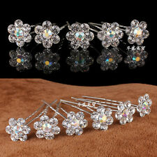 Wholesale Clear Crystal Flower Diamante Wedding Bridal Prom Party Hair Pins Clip