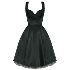 Ladies New Black Satin Vintage 50s Retro Pinup Party Prom Swing Evening Dress