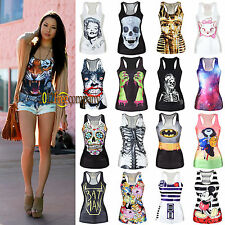 Women's Gothic Punk Tank Top Vest Blouse Party Clubwear T-Shirt Camisole Singlet