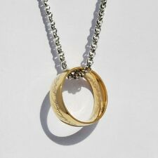 Hot Bilbo's The One Ring Lord Of the Rings Gold Ring Chain Necklace Stainless
