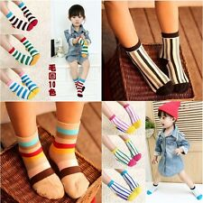 10 Pairs(20pcs) Mixed Lot Kids Boy Girls Striped Socks Soft Cotton V32B 1-12T