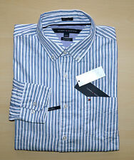 NWT Men's Tommy Hilfiger Casual Long-Sleeve Shirt, White, Blue  M L XL