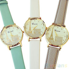 Latest Women's Geneva Eiffel Tower Golden Case Faux Leather Band Wrist Watch