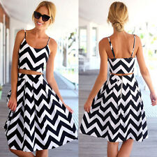 Sexy Women Backless Wave Striped Tops+ Knee Length Striped Dress Set Excellent